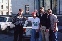 pinko-haired Stan and rocket scinetists and Russina driver and the rock and roll Lada in St. Petersburg - 1999